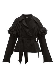 Ann Demeulemeester Ruffle-trim wrap-front wool jacket