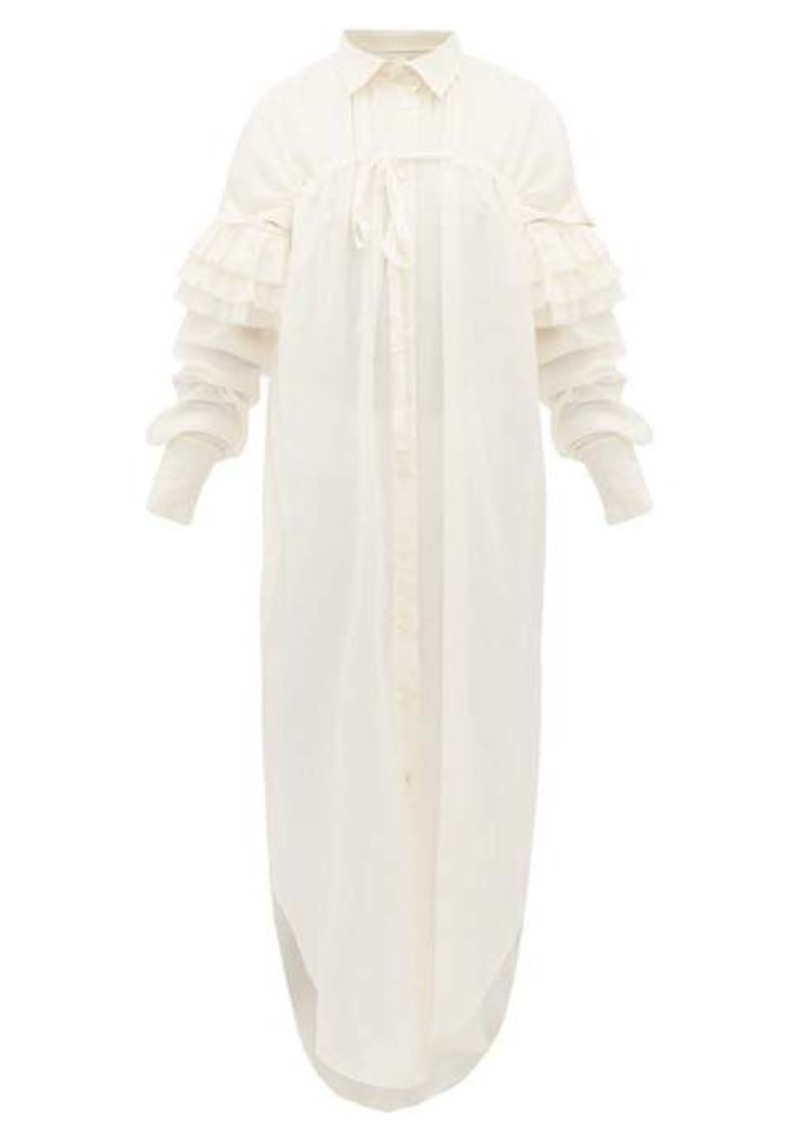 Ann Demeulemeester Ruffled cotton-blend gauze shirtdress