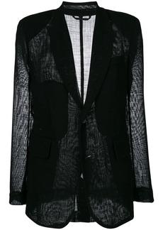 Ann Demeulemeester sheer panel blazer - Black