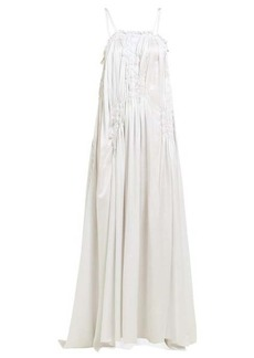 Ann Demeulemeester Shirred-bodice satin maxi dress