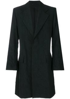 Ann Demeulemeester single-breasted crinkle coat - Black