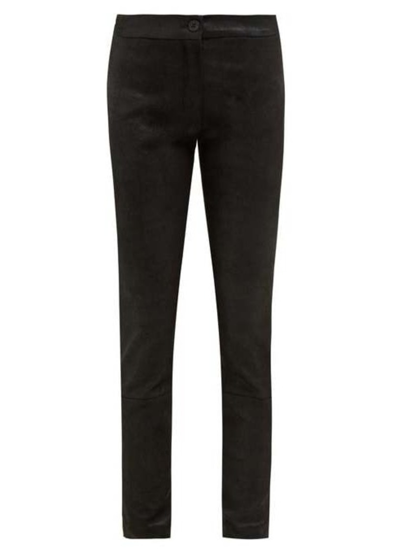 Ann Demeulemeester Stretch jersey-backed leather leggings