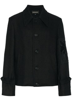 Ann Demeulemeester floral embroidered arm patch jacket - Black