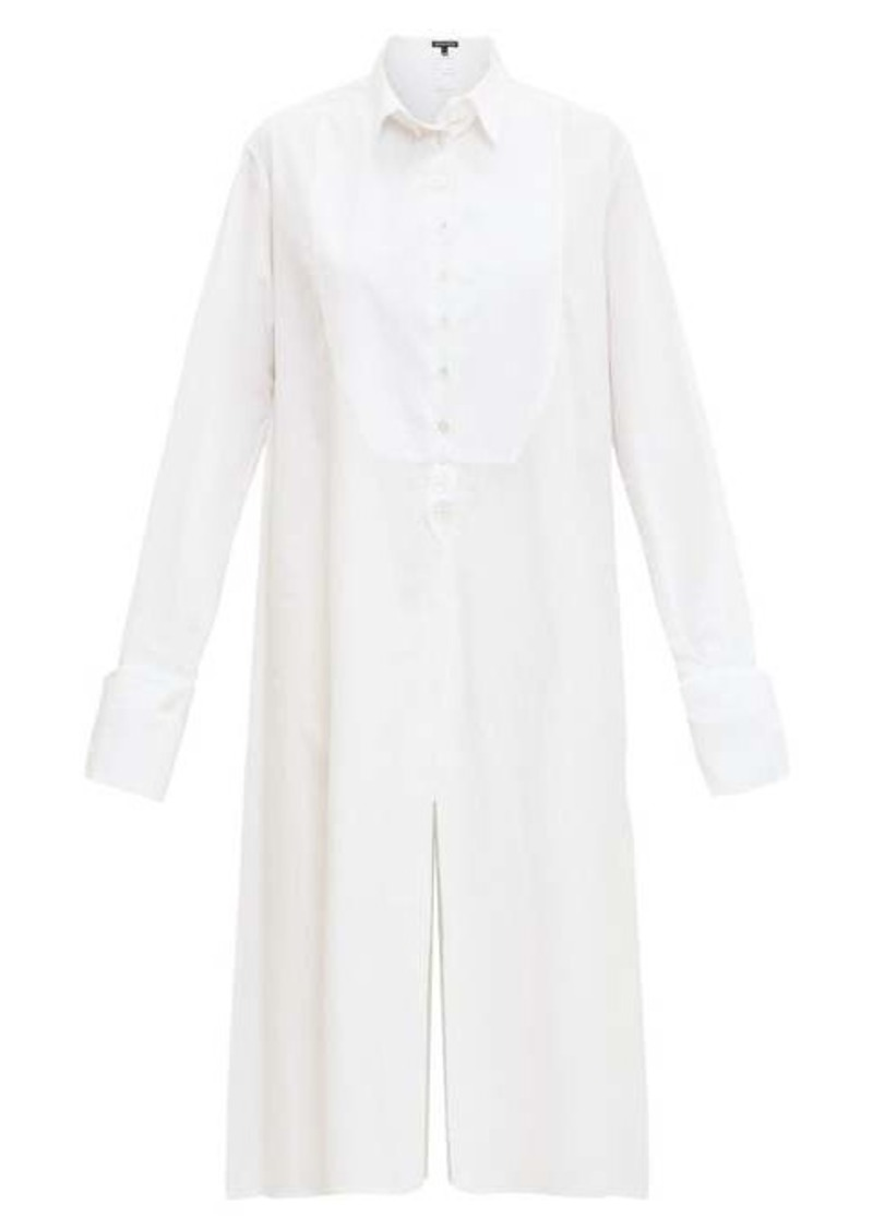 Ann Demeulemeester Tuxedo-bib cotton-poplin shirtdress
