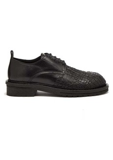 Ann Demeulemeester Web-embroidered leather derby shoes