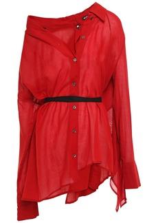 Ann Demeulemeester Woman Asymmetric Cotton And Cashmere-blend Gauze Shirt Red