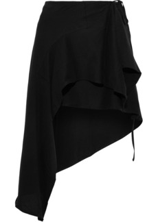 Ann Demeulemeester Woman Asymmetric Cotton-jersey Mini Wrap Skirt Black