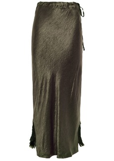 Ann Demeulemeester Woman Asymmetric Crinkled-satin And Georgette Midi Skirt Army Green