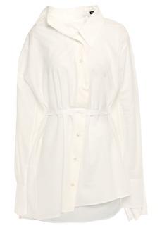 Ann Demeulemeester Woman Asymmetric Draped Cotton Shirt White