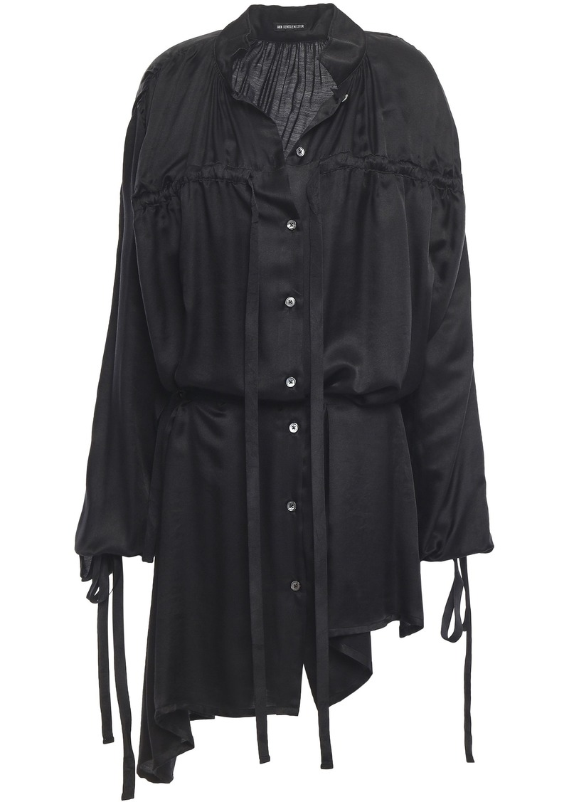 Ann Demeulemeester Woman Asymmetric Gathered Mousseline Shirt Black