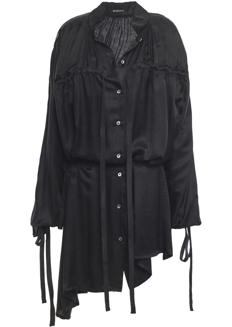 Ann Demeulemeester Woman Asymmetric Gathered Mousseline Shirt Black