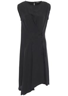 Ann Demeulemeester Woman Asymmetric Lace-up Cupro Dress Black