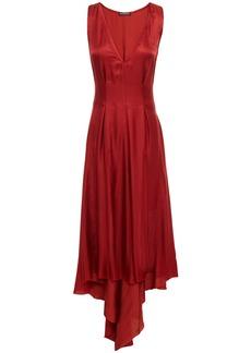 Ann Demeulemeester Woman Asymmetric Pleated Satin Midi Dress Claret