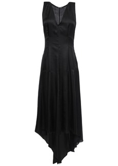 Ann Demeulemeester Woman Asymmetric Satin Midi Dress Black