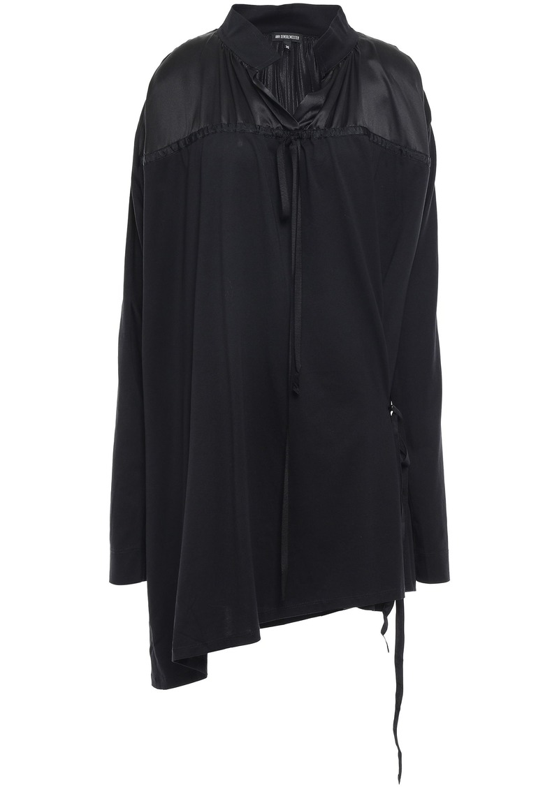 Ann Demeulemeester Woman Asymmetric Satin-paneled Cotton-jersey Mini Dress Black