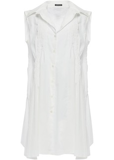 Ann Demeulemeester Woman Shirred Cotton-gauze Shirt Dress White