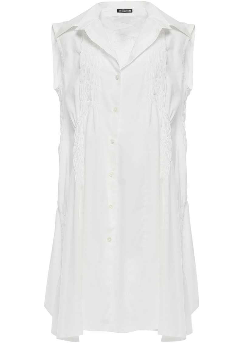 Ann Demeulemeester Woman Shirred-trimmed Cotton-poplin Mini Dress White