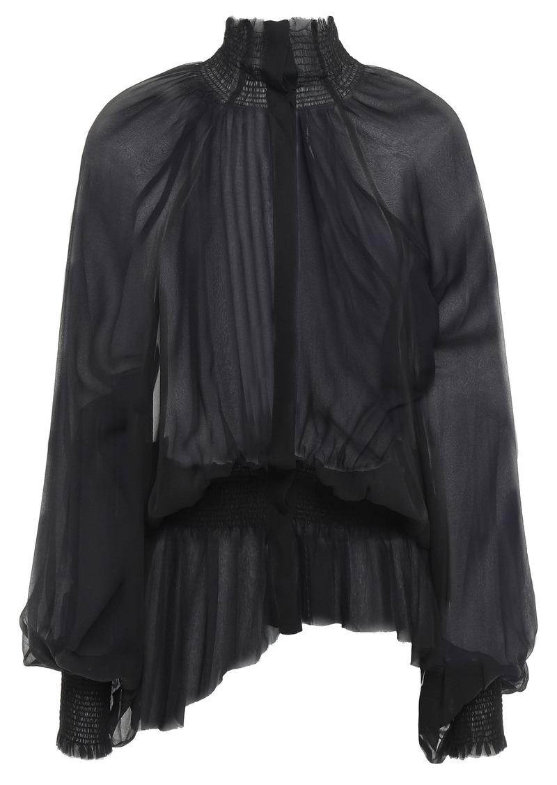 Ann Demeulemeester Woman Asymmetric Shirred Silk-georgette Blouse Black