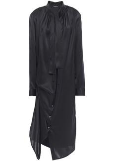 Ann Demeulemeester Woman Asymmetric Tie-neck Silk-satin Midi Dress Black
