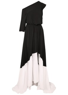 Ann Demeulemeester Woman Asymmetric Two-tone Crepe Maxi Dress Black