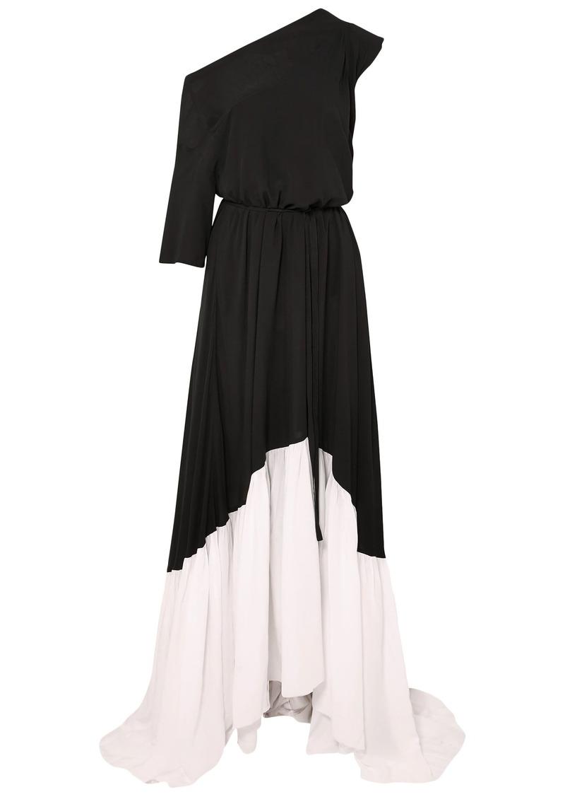 Ann Demeulemeester Woman Asymmetric Two-tone Crepe Maxi Dress Black