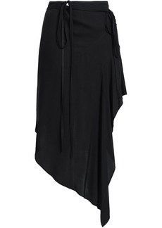 Ann Demeulemeester Woman Asymmetric Voile Wrap Skirt Black