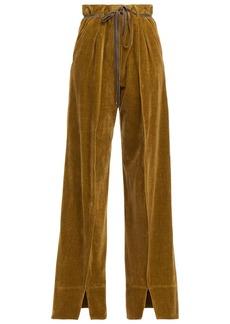 Ann Demeulemeester Woman Belted Cotton-velvet Wide-leg Pants Army Green