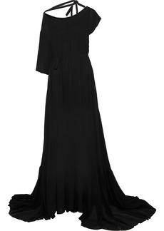 Ann Demeulemeester Woman Belted Crepe De Chine Gown Black