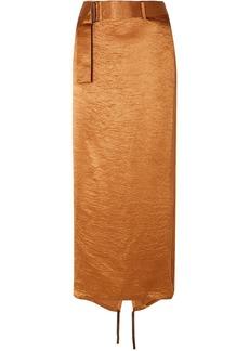 Ann Demeulemeester Woman Belted Crinkled-satin Midi Skirt Copper