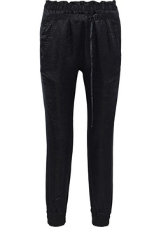 Ann Demeulemeester Woman Belted Crinkled-satin Tapered Pants Black