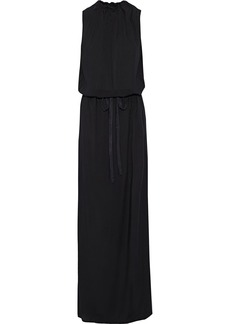 Ann Demeulemeester Woman Belted Gathered Voile Maxi Dress Black