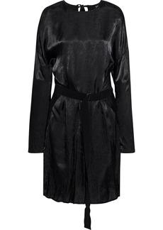 Ann Demeulemeester Woman Belted Hammered-satin Dress Black