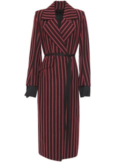 Ann Demeulemeester Woman Belted Striped Wool And Cotton-blend Coat Black