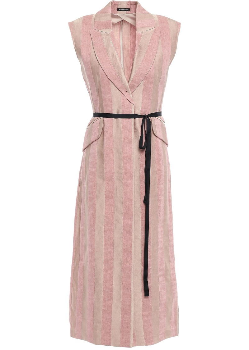 Ann Demeulemeester Woman Belted Striped Wool-gauze Vest Blush