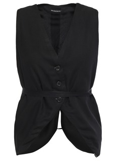 Ann Demeulemeester Woman Belted Two-tone Crepe Vest Black