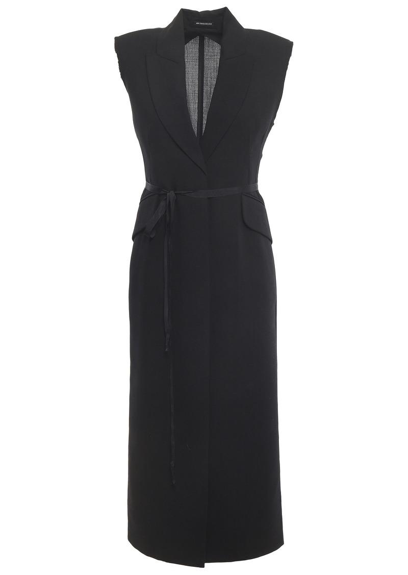 Ann Demeulemeester Woman Belted Wool-gauze Vest Black