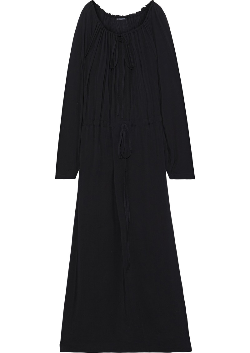 Ann Demeulemeester Woman Bow-detailed Gathered Voile Maxi Dress Black