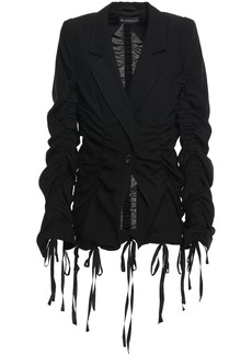 Ann Demeulemeester Woman Bow-detailed Ruched Wool-twill Blazer Black