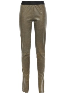 Ann Demeulemeester Woman Brushed Stretch-leather Leggings Army Green