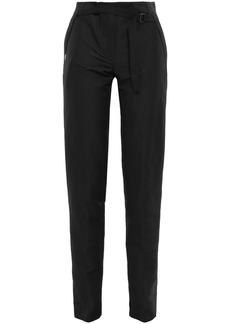 Ann Demeulemeester Woman Buckle-detailed Linen-blend Twill Slim-leg Pants Black