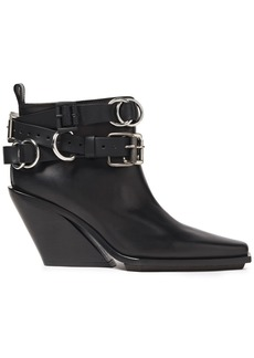 Ann Demeulemeester Woman Buckled Leather Ankle Boots Black