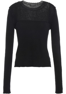 Ann Demeulemeester Woman Burnout-effect Ribbed Cotton And Cashmere-blend Sweater Black