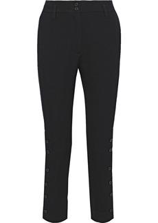 Ann Demeulemeester Woman Button-detailed Wool And Cotton-blend Twill Slim-leg Pants Black