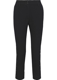 Ann Demeulemeester Woman Button-detailed Wool And Cotton-blend Twill Slim-leg Pants Black