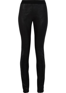 Ann Demeulemeester Woman Coated Stretch-suede Leggings Black