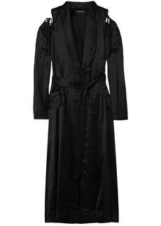 Ann Demeulemeester Woman Convertible Belted Cotton-blend Satin Coat Black