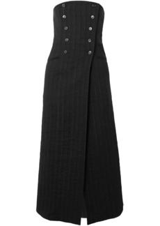Ann Demeulemeester Woman Convertible Double-breasted Pinstriped Linen-blend Midi Skirt Black