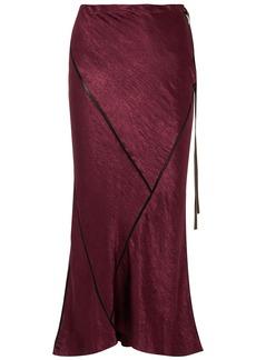 Ann Demeulemeester Woman Crepe-trimmed Crinkled-satin Midi Skirt Burgundy