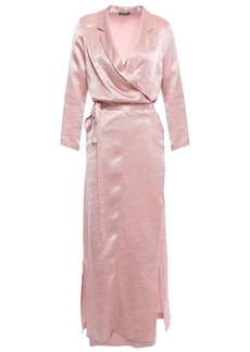 Ann Demeulemeester Woman Crinkled-satin Midi Wrap Dress Pastel Pink