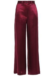 Ann Demeulemeester Woman Crinkled-satin Wide-leg Pants Plum